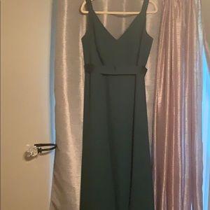 Long Forest green Vera wang bridesmaid dress